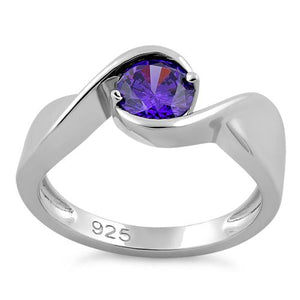 Sterling Silver Twisted Round Amethyst CZ Ring