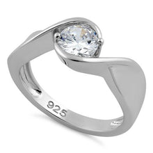 Load image into Gallery viewer, Sterling Silver Twisted Round Clear CZ Ring