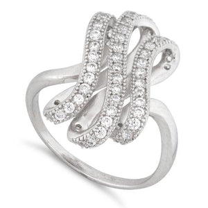 Sterling Silver Twisted S Pave CZ Ring
