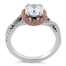 Load image into Gallery viewer, Sterling Silver Twisted Two Tone Rose Gold Plated Clear CZ Ring