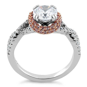 Sterling Silver Twisted Two Tone Rose Gold Plated Clear CZ Ring
