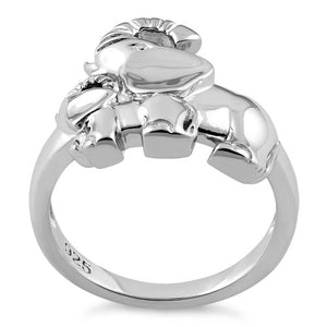 Sterling Silver Two Elephants Ring