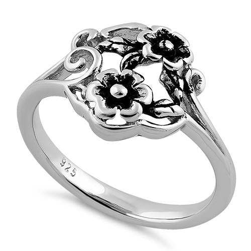 Sterling Silver Two Flower Ring