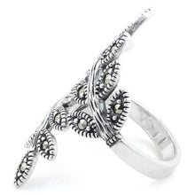 Load image into Gallery viewer, Sterling Silver Two Leaf Marcasite Ring