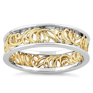 Sterling Silver Two Tone Gold Plated Curly Angel Strings Eternity Ring
