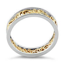 Load image into Gallery viewer, Sterling Silver Two Tone Gold Plated Curly Angel Strings Eternity Ring