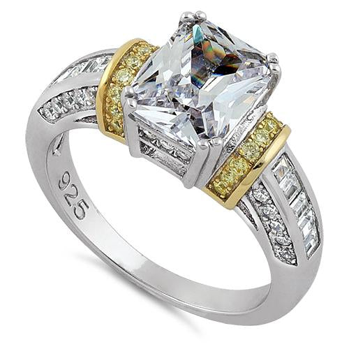 Sterling Silver Two Tone Gold Plated Emerald Cut Yellow & Clear CZ Ring