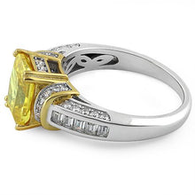 Load image into Gallery viewer, Sterling Silver Two Tone Gold Plated Emerald Cut Yellow CZ Ring
