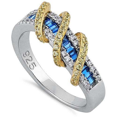 Sterling Silver Two Tone Gold Plated Exotic Twisted Yellow & Blue Spinel CZ Ring