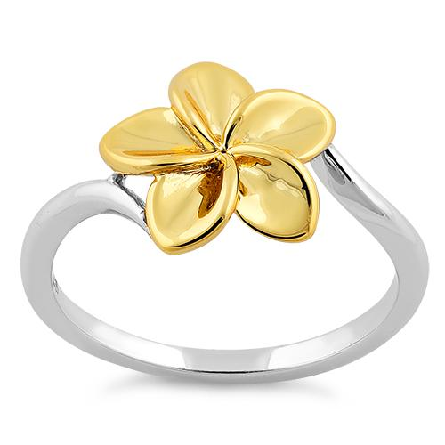 Sterling Silver Two Tone Gold Plated Plumeria Ring