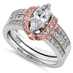 Sterling Silver Two-tone Rose Gold Plated Clear Marquise CZ Set Ring