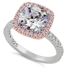 Load image into Gallery viewer, Sterling Silver Two Tone Rose Gold Plated Cushion Cut Clear & Pink CZ Ring