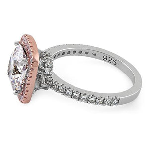 Sterling Silver Two Tone Rose Gold Plated Cushion Cut Clear & Pink CZ Ring