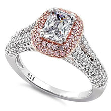 Load image into Gallery viewer, Sterling Silver Two Tone Rose Gold Plated Emerald & Round Cut Clear & Pink CZ Ring