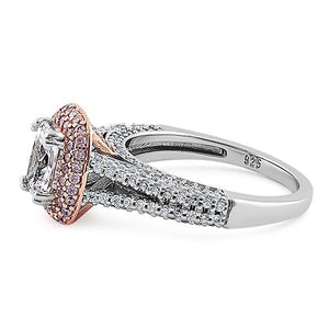 Sterling Silver Two Tone Rose Gold Plated Emerald & Round Cut Clear & Pink CZ Ring