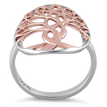 Load image into Gallery viewer, Sterling Silver Two Tone Rose Gold Plated Tree of Life Ring