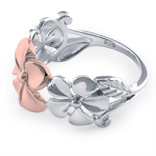Sterling Silver Two Tone Rose Gold Plated Triple Plumeria Ring