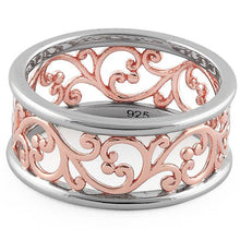 Load image into Gallery viewer, Sterling Silver Two Tone Rose Gold Plated Vines Band Ring