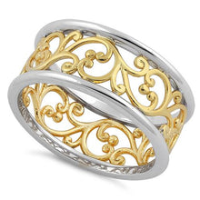 Load image into Gallery viewer, Sterling Silver Two Tone Yellow Gold Plated Vines Band Ring