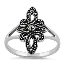 Load image into Gallery viewer, Sterling Silver Unique Fleur de Lis Marcasite Ring