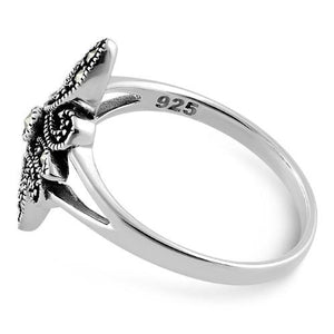 Sterling Silver Unique Fleur de Lis Marcasite Ring