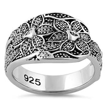 Load image into Gallery viewer, Sterling Silver Unique Flowers Ring