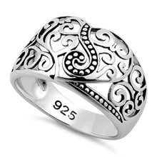 Load image into Gallery viewer, Sterling Silver Unique Heart Vines Ring