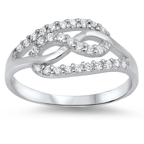 Sterling Silver Unique Infinity CZ Ring