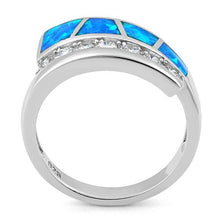 Load image into Gallery viewer, Sterling Silver Unique Lab Opal CZ Ring