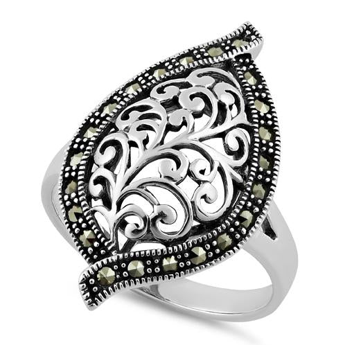 Sterling Silver Unique Leaf Marcasite Ring