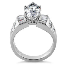 Load image into Gallery viewer, Sterling Silver Unique Marquise Cut Engagement CZ Ring