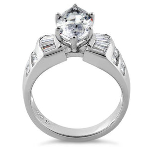 Sterling Silver Unique Marquise Cut Engagement CZ Ring
