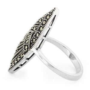 Sterling Silver Unique Marquise Marcasite Ring