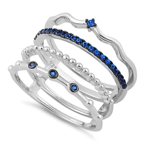 Sterling Silver Unique Multi-Style Blue Spinel CZ Ring