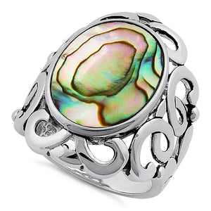 Sterling Silver Unique Oval Abalone Ring