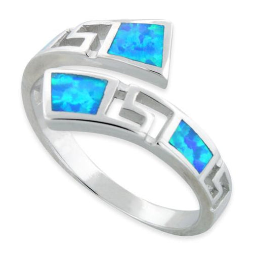 Sterling Silver Unique Pattern Lab Opal Ring