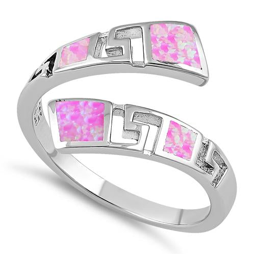Sterling Silver Unique Pattern Pink Lab Opal Ring
