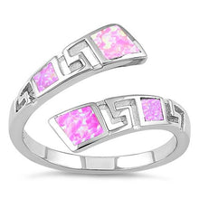 Load image into Gallery viewer, Sterling Silver Unique Pattern Pink Lab Opal Ring