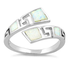 Load image into Gallery viewer, Sterling Silver Unique Pattern White Lab Opal Ring