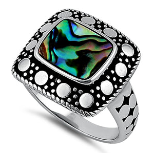 Sterling Silver Unique Square Abalone Ring