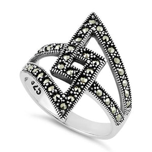 Sterling Silver Unique Square Marcasite Ring