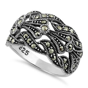 Sterling Silver Unique Waves Marcasite Ring