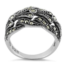 Load image into Gallery viewer, Sterling Silver Unique Waves Marcasite Ring
