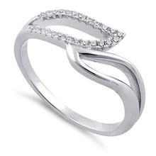 Load image into Gallery viewer, Sterling Silver Unique Wavy Clear CZ Ring