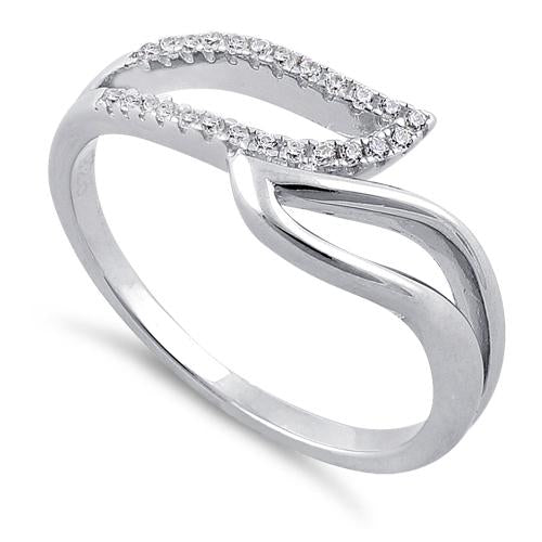 Sterling Silver Unique Wavy Clear CZ Ring