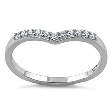 Load image into Gallery viewer, Sterling Silver V Shape CZ Ring