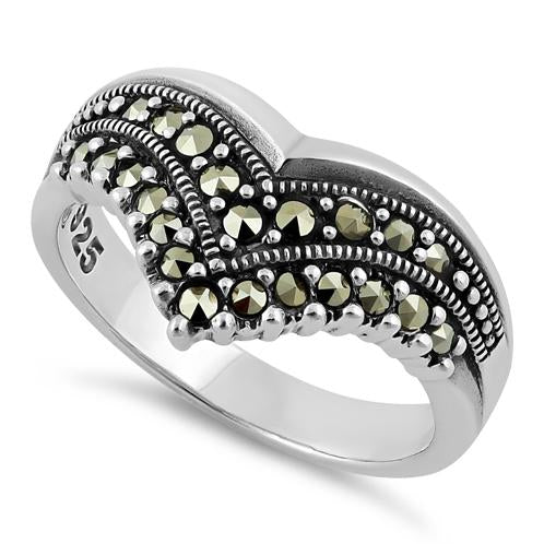 Sterling Silver V Shape Marcasite Ring
