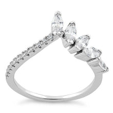 Load image into Gallery viewer, Sterling Silver V Shape Marquise CZ Ring
