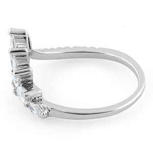Sterling Silver V Shape Marquise CZ Ring