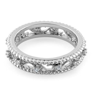 Sterling Silver Vine Rope CZ Ring